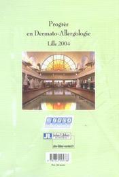 Progres En Dermato-Allergologie.Lille 2004 - 4ème de couverture - Format classique