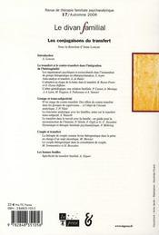 Le divan familial n.17 ; les conjugaisons du transfert - 4ème de couverture - Format classique
