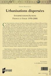 Urbanisations dispersées. interpretattions/actions france italie, 1950-2000) - 4ème de couverture - Format classique