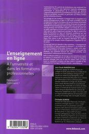 L'enseignement en ligne à l'université et dans les formations professionnelles - 4ème de couverture - Format classique