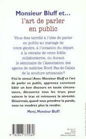 Monsieur Bluff Et L'Art De Parler En Public - 4ème de couverture - Format classique