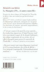 La marquise d'O et autres nouvelles - 4ème de couverture - Format classique