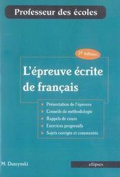 L'épreuve écrite de français - Intérieur - Format classique