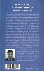 Valeur Et Fonctions Des Mots Francais En Anglais A L'Epoque Contemporaine - 4ème de couverture - Format classique
