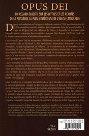 Opus dei - 4ème de couverture - Format classique