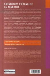 Fondements d'économie du tourisme ; acteurs, marchés, stratégies - 4ème de couverture - Format classique