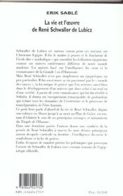 La Vie Et L'Oeuvre De R.A Schwaller De Lubicz - 4ème de couverture - Format classique