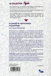 Le concept de représentation en psychologie - 4ème de couverture - Format classique