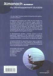 Almanach Burgeap Du Developpement Durable - 4ème de couverture - Format classique