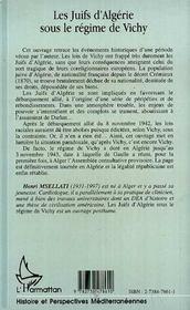 Les Juifs D'Algerie Sous Le Regime De Vichy - 4ème de couverture - Format classique