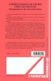 L'Apprentissage De L'Ecrit Chez Les Adultes ; Cheminements Du Savoir Lire Ecrire - 4ème de couverture - Format classique