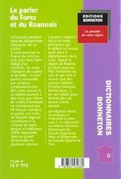 **Le Parler Du Forez Et Du Roannais** - 4ème de couverture - Format classique