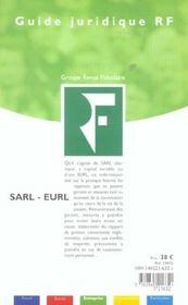 La Sarl Eurl - 4ème de couverture - Format classique