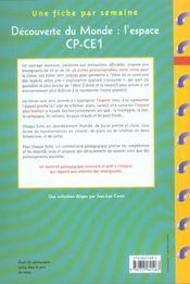 Une Fiche Par Semaine ; Découverte Du Monde : L'Espace ; Cp/Ce1; Fiches A Photocopier - 4ème de couverture - Format classique