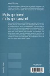 Mots Qui Tuent, Mots Qui Sauvent - Couverture - Format classique