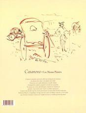 Casanova, Les Menus Plaisirs - 4ème de couverture - Format classique