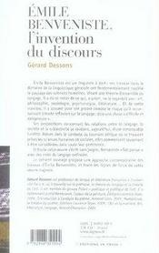 Emile Benveniste : L'Invention Du Discours - 4ème de couverture - Format classique