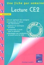 Une Fiche Par Semaine ; Lecture ; Ce2 ; Fiches A Photocopier - Intérieur - Format classique