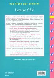 Une Fiche Par Semaine ; Lecture ; Ce2 ; Fiches A Photocopier - 4ème de couverture - Format classique