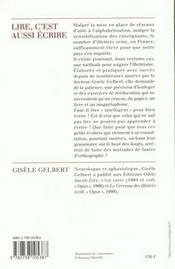 Lire, C'Est Aussi Ecrire - 4ème de couverture - Format classique