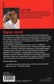 Regime Mortel - 4ème de couverture - Format classique
