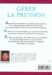 Gerer La Pression - 4ème de couverture - Format classique