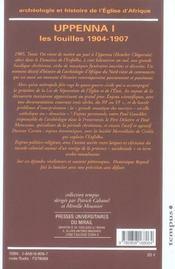 Archeologie Et Histoire De L'Eglise D Afrique. Uppenna I. Les Fouilles 1904-1907 - 4ème de couverture - Format classique