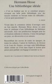 Une bibliothèque idéale - 4ème de couverture - Format classique