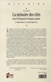La mémoire des cités dans le péloponnèse d'époque romaine (ii siècle av j.-c. - iii siècle après j.-c.) - 4ème de couverture - Format classique