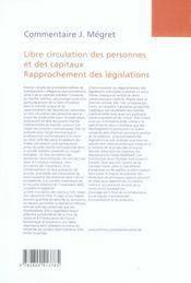 Libre circulation des personnes et des capitaux (3e édition) - 4ème de couverture - Format classique