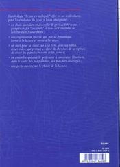 Anthologie - 4ème de couverture - Format classique