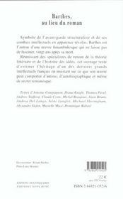 Barthes, Au Lieu Du Roman - 4ème de couverture - Format classique