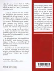 L'eugenisme en questions l'exemple de l'eugenisme francais petits essais d'ethique et de politique - 4ème de couverture - Format classique
