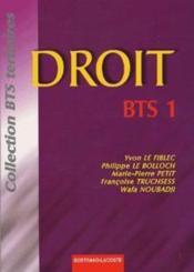 Droit Bts 1re Annee - Couverture - Format classique