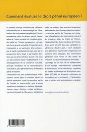Comment évaluer le droit pénal européen ? - 4ème de couverture - Format classique