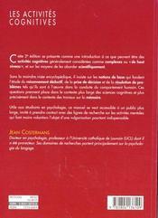 Les activites cognitives - 4ème de couverture - Format classique