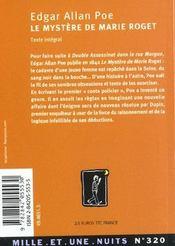Le Mystere De Marie Roget - 4ème de couverture - Format classique