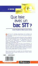 Que faire avec un bac stt ; 2e edition - 4ème de couverture - Format classique