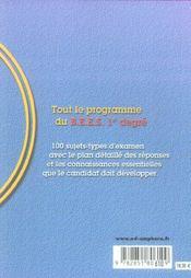 Reussir le BEES t.1 ; 100 sujets d'examen resolus - 4ème de couverture - Format classique