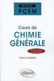 Cours de chimie générale (3e édition) - Intérieur - Format classique