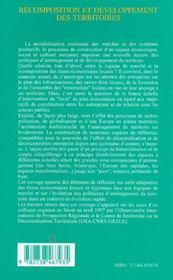 Recomposition et développement des territoires : enjeux économiques, processus, acteurs - 4ème de couverture - Format classique