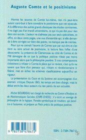 Auguste Comte et le positivisme - 4ème de couverture - Format classique