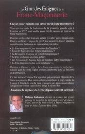 Les grandes énigmes de la franc-maçonnerie - 4ème de couverture - Format classique