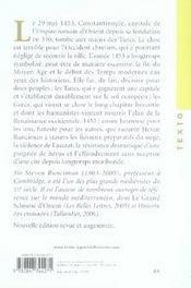 La chute de Constantinople ; 1453 - 4ème de couverture - Format classique