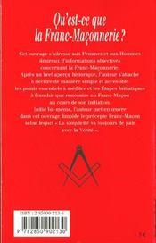 Qu'Est-Ce-Que La Franc-Maconnerie ? - 4ème de couverture - Format classique