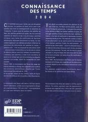 Éphémérides astronomiques 2004 ; connaissance des temps - 4ème de couverture - Format classique
