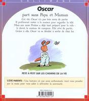 Oscar part sans papa et maman - 4ème de couverture - Format classique