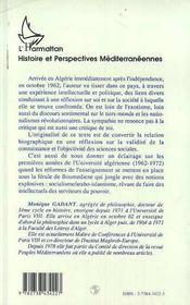 Parcours D'Une Intellectuelle En Algerie - 4ème de couverture - Format classique