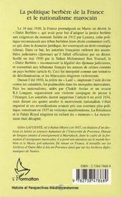 La Politique Berbere De La France Et Le Nationalisme Marocain - 4ème de couverture - Format classique