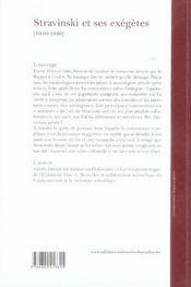 Stravinski et ses exégètes, 1910-1940 - 4ème de couverture - Format classique